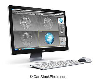 profissional, computador desktop, estação trabalho