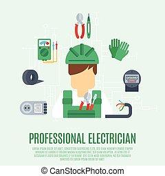 profissional, conceito, eletricista