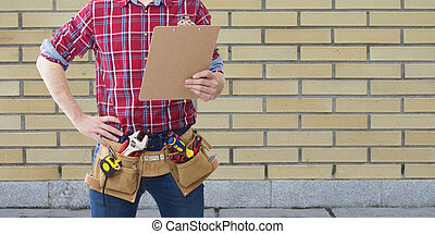 profissional, construção, ferramentas, e, planos