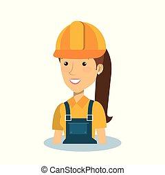 profissional, construção, mulher, personagem