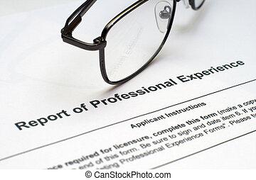 profissional, experiência, forma