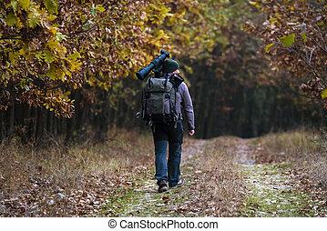 profissional, fotógrafo, com, camuflagem, equipamento, em, natureza