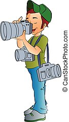 profissional, fotógrafo, ilustração