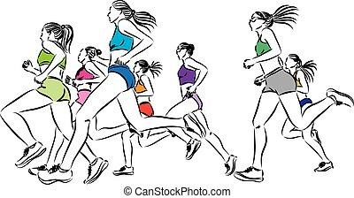 profissional, illustra, corredores, mulheres