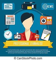profissional, jornalista, fundo