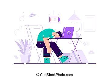 profissional, longo, trabalhando, day., burnout.