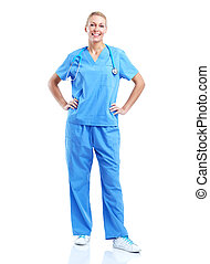 profissional, médico, mulher, doutor.