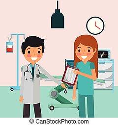 profissional, médico, pessoas