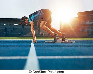 profissional, macho, pista, atleta, em, jogo, posição