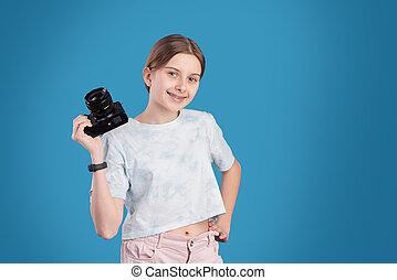 profissional, menina, bonito, câmera