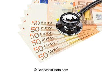 profissional, notas, parte, estetoscópio, euro