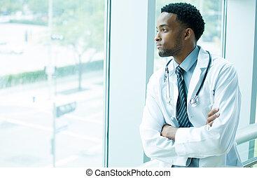 profissional, pensativo, cuidados de saúde
