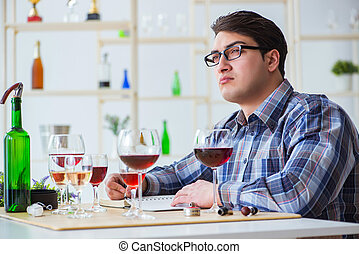 profissional, provando, sommelier, vinho tinto