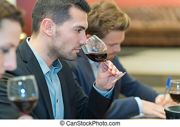 profissional, provando, sommeliers, vinho