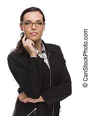 profissional, raça misturada, executiva, isolado, branco