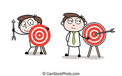 profissional, tábua, alvo, caricatura, homem negócios