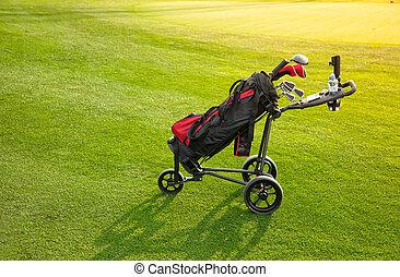 profissional, tacos golfe, em, um, bagagem, em, pôr do sol