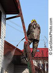 profissional, telhado, limpeza, pressão, método