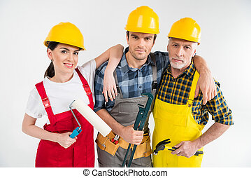 profissional, trabalhadores construção