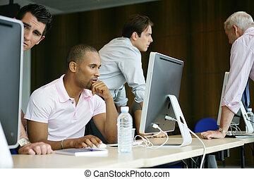 profissional, treinamento, homens negócios