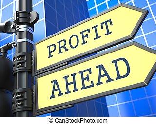 Profit Ahead. Yellow Roadsign.
