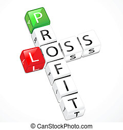 illustration of profit and loss crossword cubes