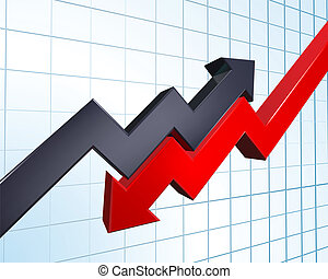 profit and loss illustration - an illustration of arrows...
