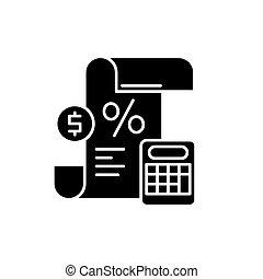 Profit and loss statement black icon, vector sign on isolated background. Profit and loss statement concept symbol, illustration