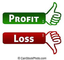 Profit and Loss Thumb Up Down
