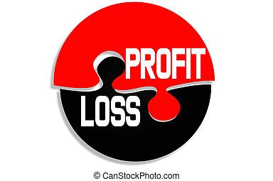 Profit and loss word on round puzzle