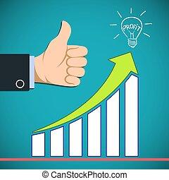 profit., aumentado, revenue., gráfico, illu, vetorial, crescimento, estoque