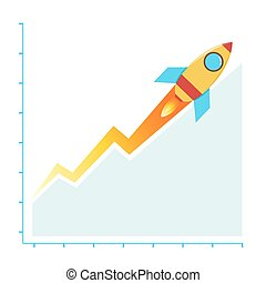 Profit Business Sales Chart Climbing With Rocket, Success Concept