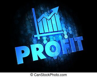 Profit Concept on Dark Digital Background.