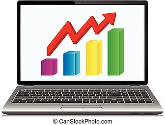 Profit concept, red arrow shows business growth chart on laptop screen