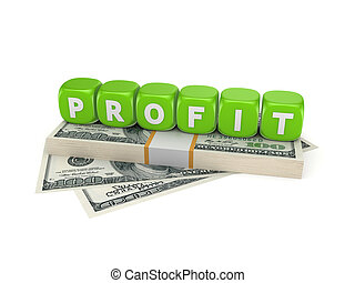 Profit concept.Isolated on white background 3d rendered...