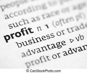 profit, définition, dictionnaire