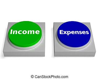 profit, dépenses, boutons, revenu, comptabilité, spectacles