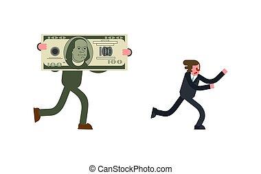 profit., entkommen, geld, boss., rennender , businessman., einkommen, geschäftsmann