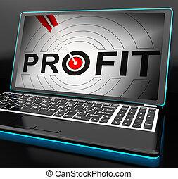 profit, expected, ordinateur portable, projection, incomes