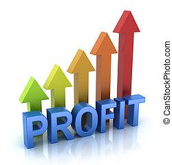 profit, färgrik, graf, begrepp