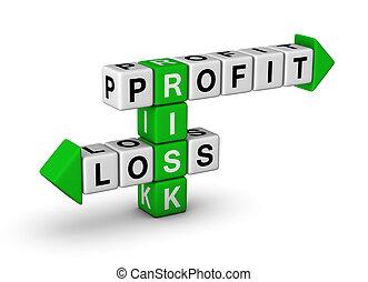 profit, förlust, -, riskera