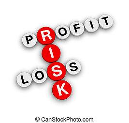 profit, förlust, riskera