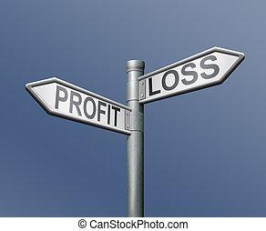 profit, förlust, riskera, vägmärke