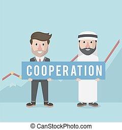 profit, faire, équipe, coopération