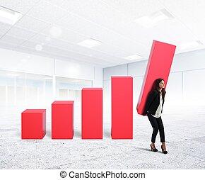 profit, femme affaires, compagnie, haut