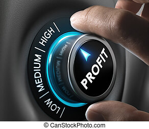 Profit, Finance Concept - Man fingers setting profit button...