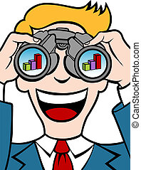Profit Forecasting - Businessman uses his binoculars to see...