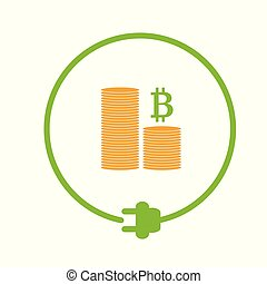 Profit from bitcoin mining - Flat style icon of profit from...