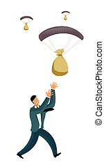profit gain - Businessmen catching money bags falling from...