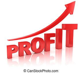 profit, graf, med, pil